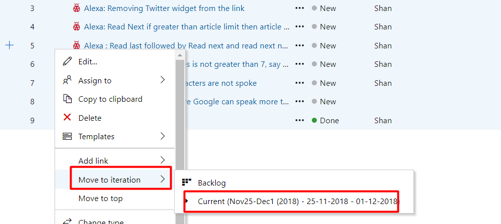 Moving WorkItems to next iteration from Sprints in Azure